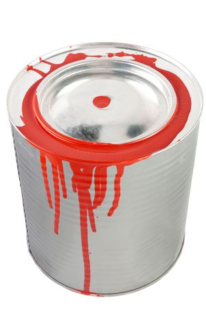 Tin of a red paint. Isolated over white  photo
