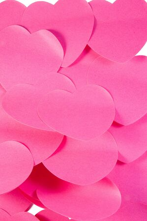Pink heart stickers. Isolated over white photo