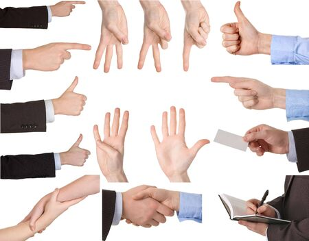 Collection of hands showing gestures Isolated over white background. photo