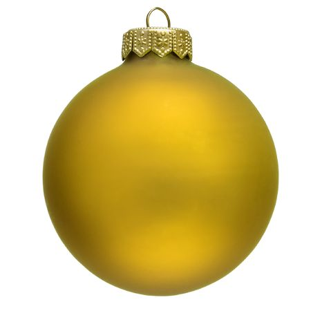 yellow christmas ornament . Isolated over white.