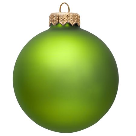 bauble: green christmas ornament . Isolated over white.