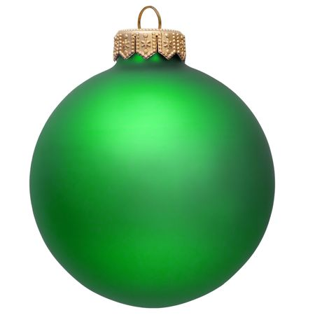 glass ornament: green christmas ornament . Isolated over white.