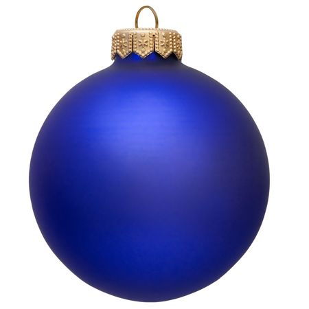 blue christmas ornament . Isolated over white.