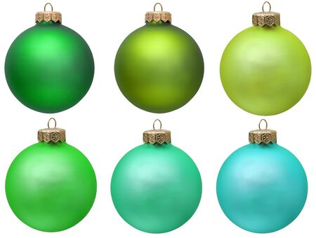 green christmas ornament collection . Isolated over white. photo