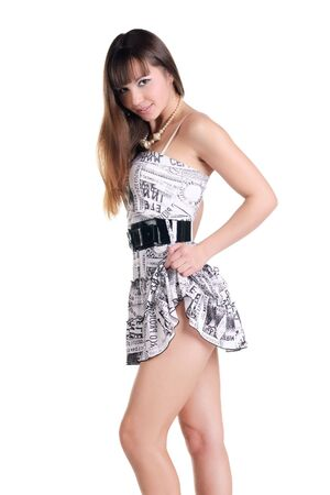 bared: bared beautiful woman in sexual dress. Isolated over white background .