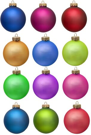 collection of colored christmas ornament . Isolated over white.  photo