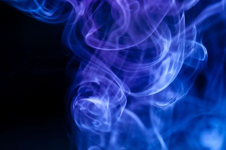 abstract blue smoke over black background .