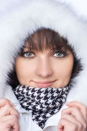 beautiful happy woman in winter clothes. Close - up . photo