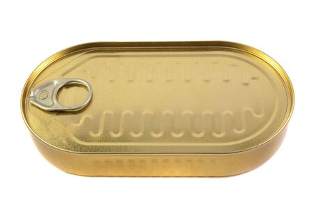 closed gold metal tin isolated on white background photo