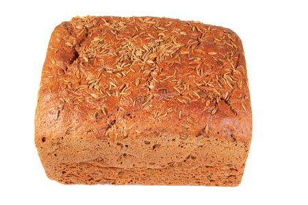 rye bread with caraway seed isolated over white background . photo
