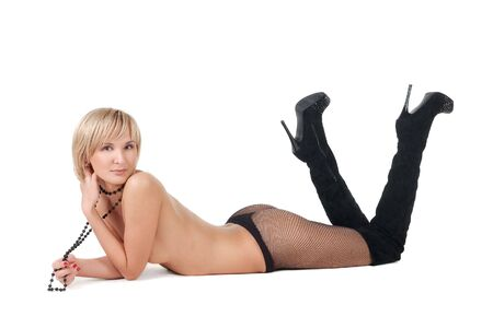naked blond woman lying on floor . Isolated over white background. photo