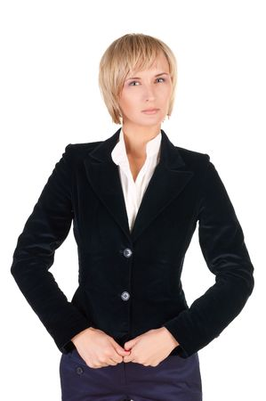 resolute: resolute blond woman in suit. Isolated over white .