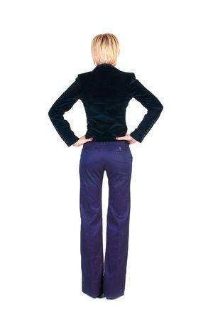 Bionda businesswoman. Vista posteriore. Isolato su bianco.