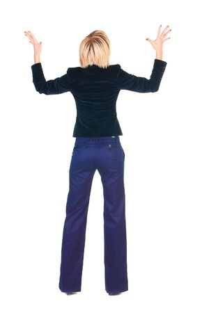 Shocked blonde businesswoman. Rear view . Isolated over white.