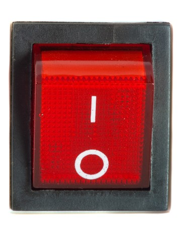 Close up of isolated red power on  off switch . photo