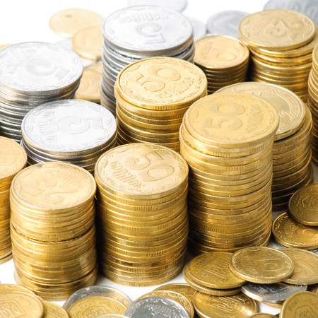 Stacks of coins . isolated on white background . Stock Photo - 7028152