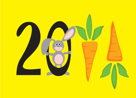 two thousand: two thousand eleventh new year In figures in the form of carrots, with  smiling rabbit