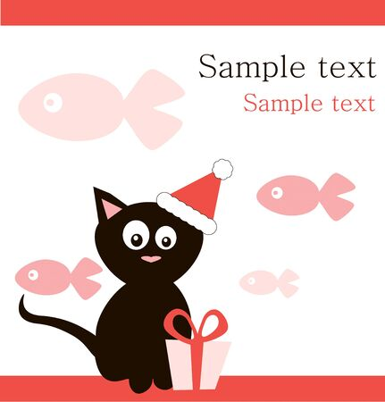 Black cat in  santas hat with gift on fish background . photo