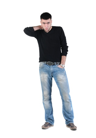 Elegant young posing man. Isolated over white background.
