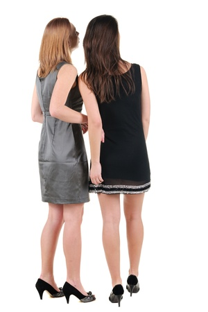 Two beautiful young woman l. Rear view. Isolated over white. Stock Photo - 10002283