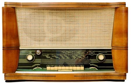 Vintage radio . Isolated over white background. photo