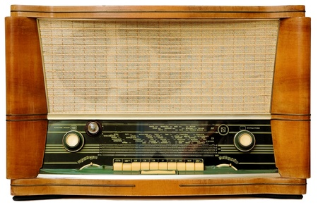 telecast: Vintage radio . Isolated over white background. Stock Photo