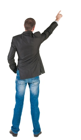 young expert looks ahead. rear view. Isolated over white . Stock Photo - 10864677