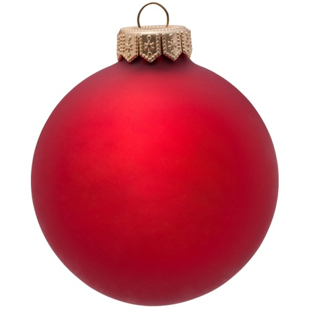 bauble: red christmas ornament . Isolated over white.