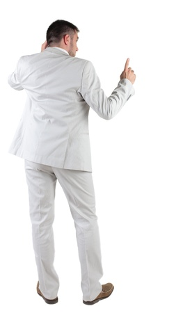 man rear view: Back view of  thinking young business man in  white suit. Rear view. isolated over white background. Concept of idea, ask question, think up, choose, decide.