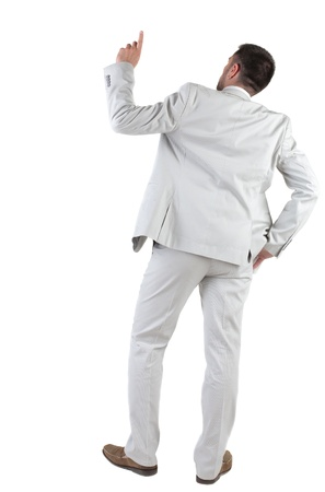 see side: Back view of  thinking young business man in  white suit. Rear view. isolated over white background. Concept of idea, ask question, think up, choose, decide.