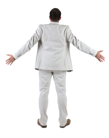 man behind: Back view of  thinking young business man in  white suit. Rear view. isolated over white background. Concept of idea, ask question, think up, choose, decide.