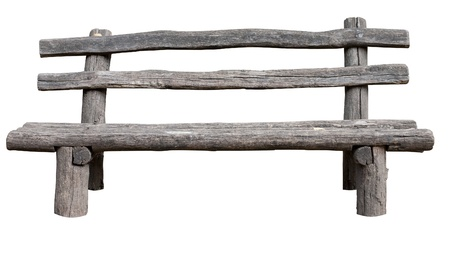 Ancient rural bench from logs. Isolated over white. Roughly hammered together wooden bench.   photo
