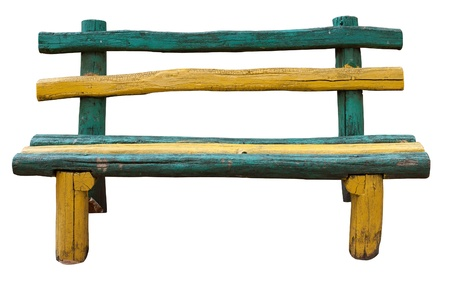 Ancient rural bench from logs. Isolated over white. Roughly hammered together wooden bench. multi-coloured.   photo