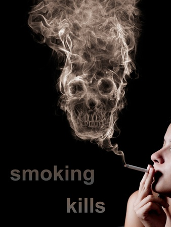 woman smoking a cigarette. Of smoke formed skull dead, as a symbol of the dangers of smoking to health and imminent death of people. The concept smoking kills. Isolated on a black background  photo