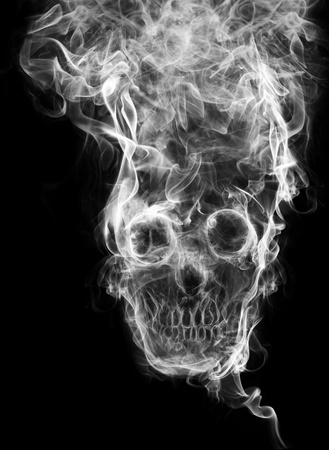 skull of the smoke. Of smoke formed skull dead, as a symbol of the dangers of smoking to health and imminent death of people.  Stock Photo - 12156256