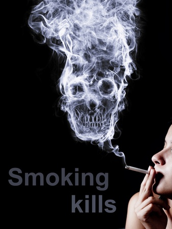 woman smoking a cigarette. Of smoke formed skull dead, as a symbol of the dangers of smoking to health and imminent death of people. Stock Photo - 12156252