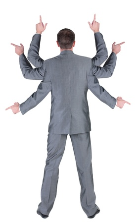 businessman with many hands pointing at wall. rear view. Isolated over white .  photo