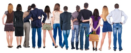 Back view group of people who are looking into the distance. Rear view. Isolated over white background. Stock Photo