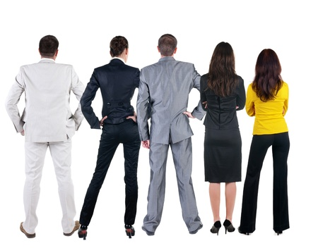 Back view of  business people looks at wall.  Teamwork of three business people looking at something. Rear view. Isolated over white .  photo