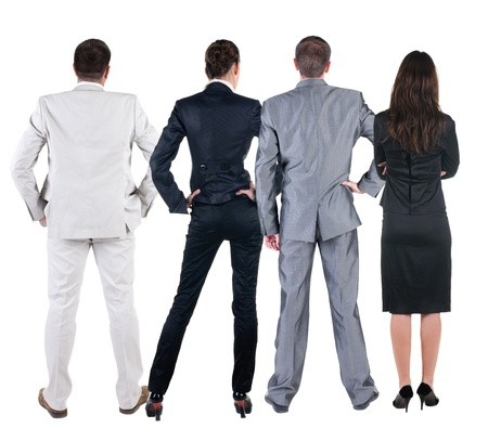 observers: Back view of  business people looks at wall.  Teamwork of three business people looking at something. Rear view. Isolated over white .