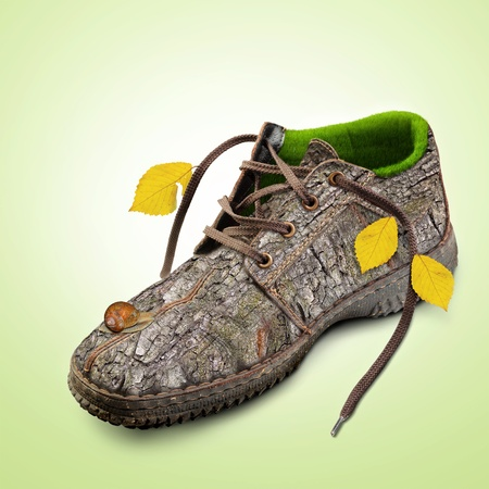 Eco-friendly shoes  Concept Go green  technology   Shoes made of natural materials  Winter shoes from the bark of a tree, grass and leaves  Isolated over white background  photo