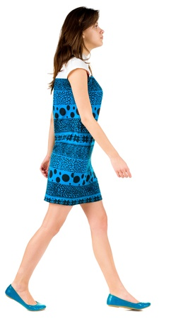 back side view of going brunette girl in blue dress. beautiful woman in motion.  backside view of person. Isolated over white background. Rear view people collection. Stock Photo - 13355723