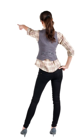 side job:  woman pointing. Back view . beautiful brunette girl in shirt gesture.  Rear view people collection.  backside view of person.  Isolated over white background.