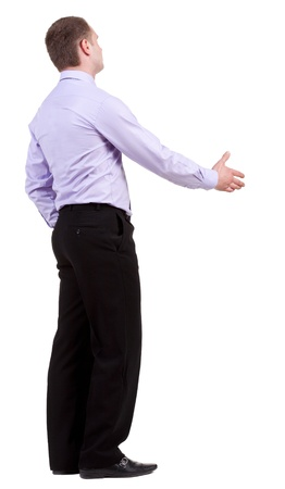 man rear view: back view of Business man  hand shake.  Young guy in shirt watching.  Rear view people collection.  backside view of person.  Isolated over white background.