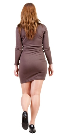 back view of going brunette woman in motion. beautiful girl  in brown dress. Stock Photo - 13683102