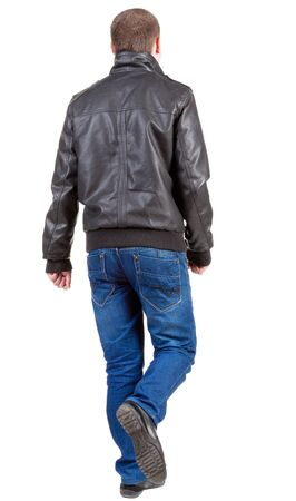 Back view of going  handsome man in jacket and jeans.  walking young guy in jeans and  jacket. Rear view people collection.  backside view of person.  Isolated over white background. Stock Photo - 13769844