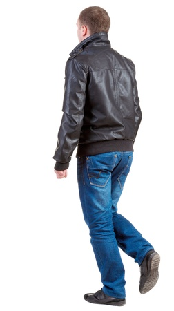 Back view of going  man in jacket.  walking young guy in jeans and  jacket. Rear view people collection.  backside view of person.  Isolated over white background. Stock Photo - 13769850
