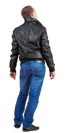 Back view of handsome man in jacket  looking up.   Standing young guy in jeans and  jacket. Rear view people collection.  backside view of person.  Isolated over white background. Stock Photo - 13769846