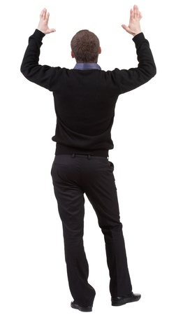 Back view of shocked business man . Upset adult businessman. Rear view people collection.  backside view of person.  Isolated over white background. Stock Photo - 13772990