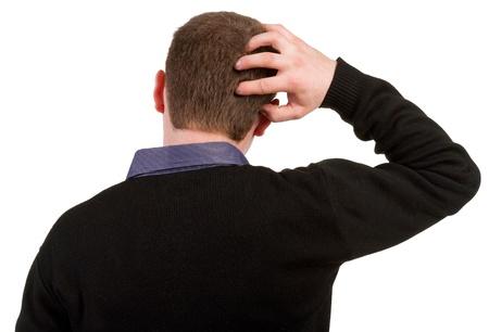 Achteraanzicht van denken zakenman. Close-up. gebaren volwassen zakenman in zwart pak. Achteraanzicht mensen collectie. achterzijde uitzicht van zijn persoon. Geà ¯ soleerd op witte achtergrond.